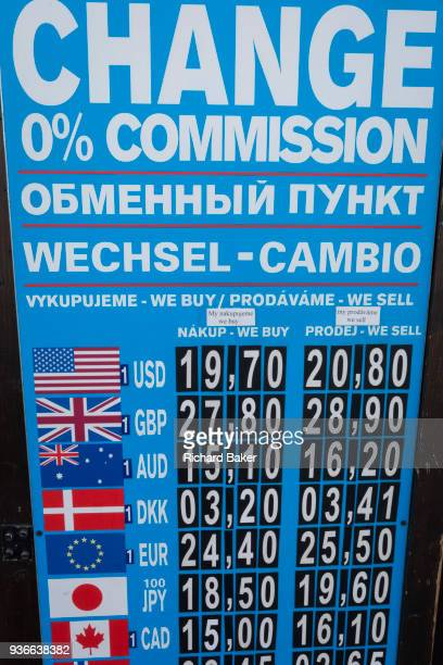 International currency rates on the board outside a bureaudechange in Hradcany district on 19th March in Prague the Czech Republic