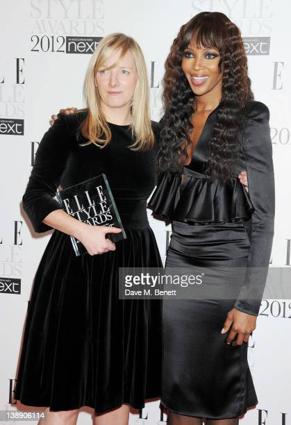 International Designer of the Year winner Sarah Burton and presenter Naomi Campbell pose in the press room at the ELLE Style Awards at The Savoy...