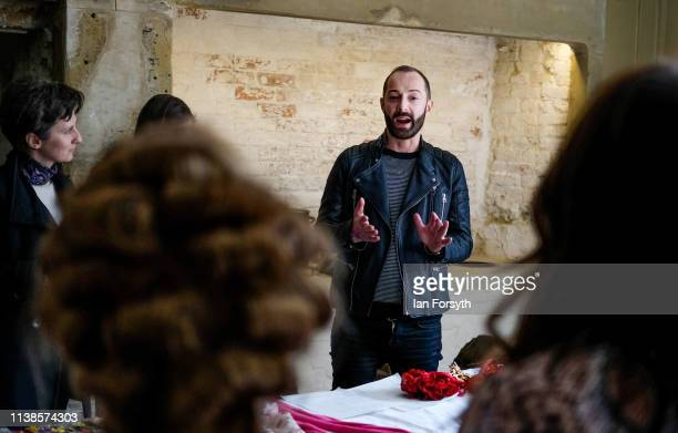 International designer Scott Henshall speaks to the models ahead of his show at York Mansion House during York Fashion Week on March 26 2019 in York...