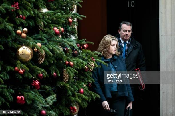 International Development Secretary Penny Mordaunt and International Trade Secretary Liam Fox leave 10 Downing Street after Government Ministers...