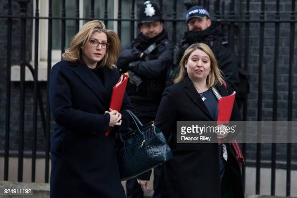 International Development Secretary Penny Mordaunt and Northern Ireland Secretary Karen Bradley leaves Downing Street following the weekly cabinet...