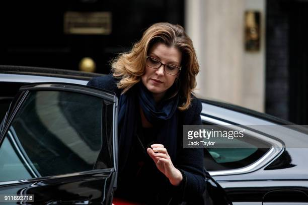 International Development Secretary Penny Mordaunt arrives at 10 Downing Street on January 29 2018 in London England The Prime Minister hosts a...