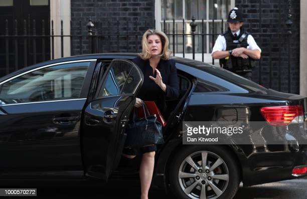 International Development Secretary Penny Mordaunt arrives at Downing Street on July 17 2018 in London England MPs vote on the trade bill in...