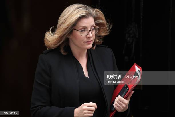 International Development Secretary Penny Mordaunt leaves 10 Downing Street following a cabinet meeting on July 10 2018 in London England Ministers...