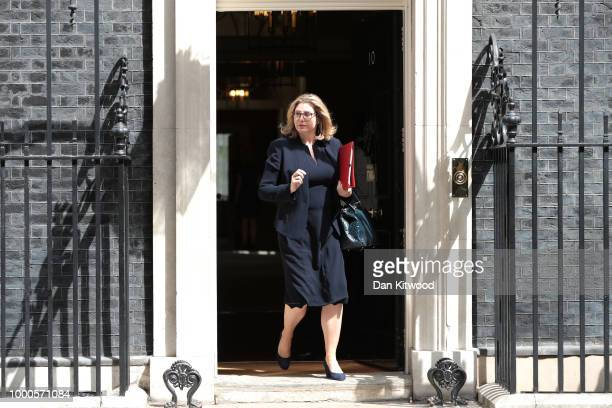International Development Secretary Penny Mordaunt leaves Downing Street on July 17 2018 in London England MPs vote on the trade bill in Parliament...
