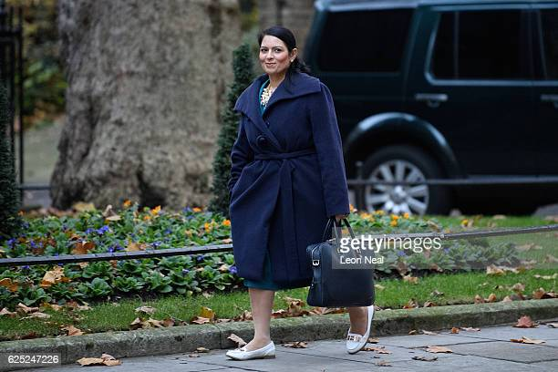 International Development Secretary Priti Patel arrives ahead of a Cabinet meeting at Downing Street on November 23 2016 in London England Ministers...