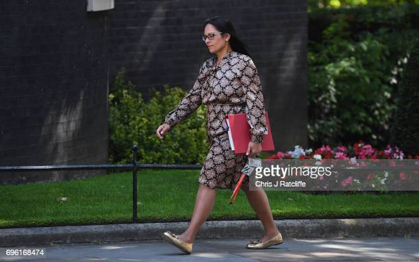 International Development Secretary Priti Patel arrives at 10 Downing Street on June 15 2017 in London England Prime Minister Theresa May is due to...