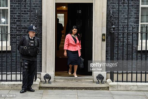 International Development Secretary Priti Patel leaves number 10 Downing Street following a Cabinet meeting on October 25 2016 in London England The...