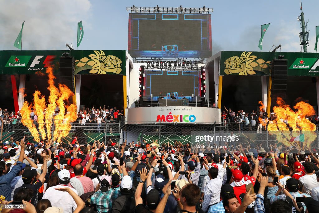 International Dutch DJ, Hardwell becomes first person to perform on the podium as part of Heineken®'s 'More Than A Race campaign at the during the Formula One Grand Prix of Mexico at Autodromo Hermanos Rodriguez on October 29, 2017 in Mexico City, Mexico.