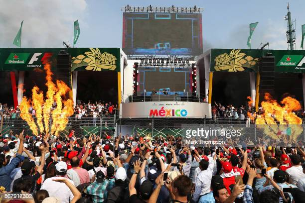 International Dutch DJ Hardwell becomes first person to perform on the podium as part of Heineken®'s 'More Than A Race campaign at the during the...