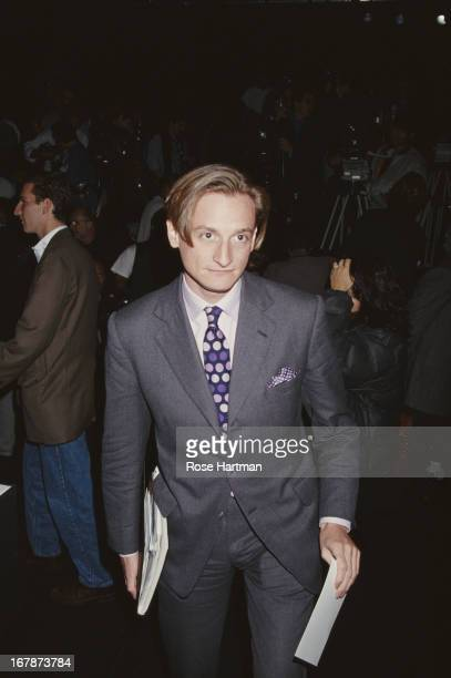 International Editor at Large for Vogue magazine Hamish Bowles at the Bill Blass Fashion Show 1995