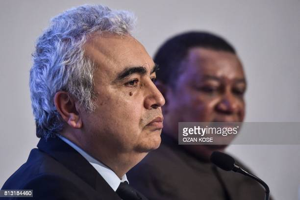 International Energy Agency executive director Fatih Birol and OPEC Secretary General Mohammad Barkindo attend on July 12 2017 at the IEA OPEC...
