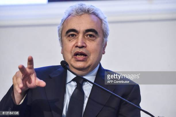 International Energy Agency executive director Fatih Birol speaks on July 12 2017 at the IEA OPEC dialogue session during the 22nd World Petroleum...