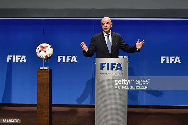International Federation of Association Football President Gianni Infantino gestures while speaking during a press briefing closing a meeting of the...