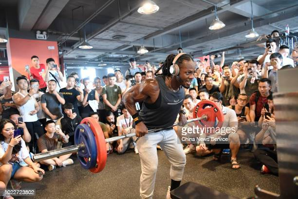 International fitness model Ulisses Jr meets fans at a fitness club during BioTechUSA promotional event on August 20 2018 in Chengdu Sichuan Province...