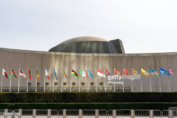 International flags are displayed at the United Nations headquarters in New York, U.S., on Tuesday, Sept. 22. 2020. The United Nations General...
