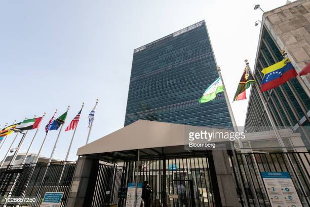 International flags fly outside the United Nations headquarters in New York, U.S., on Tuesday, Sept. 22. 2020. The United Nations General Assembly...