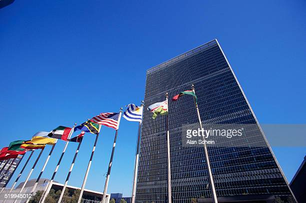 international flags fronting united nations building - united nations stock pictures, royalty-free photos & images