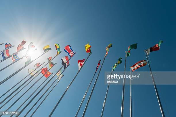 international flags - global village stock pictures, royalty-free photos & images