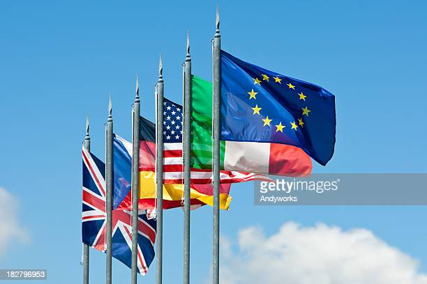 international flags - british and eu flag stock pictures, royalty-free photos & images