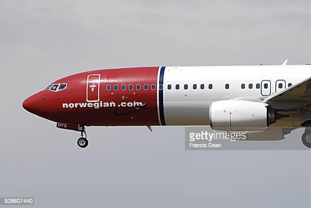 International flight landing at Kastrup Copenhagen Interntional Airport aeroplans from various air lines like Norwegian easyjet.com SAS Scandinavian...
