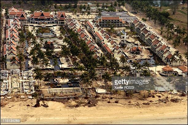 International forensic teams join efforts to identify tsunami victims in Thailand on January 23 2005 Aerial view of Hotel Sofitel Khao Lak