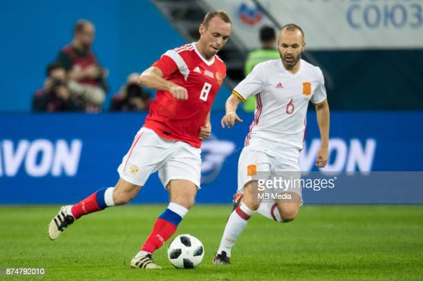 SPAIN International friendly football match at Saint Petersburg Stadium The game ended in a 33 draw Russia's Denis Glushakov and Spain's Andres...