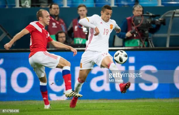 International friendly football match at Saint Petersburg Stadium. The game ended in a 3-3 draw. Russia's Denis Glushakov and Spain's Rodrigo Moreno .