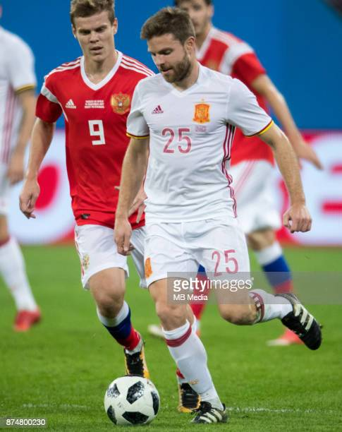 SPAIN International friendly football match at Saint Petersburg Stadium The game ended in a 33 draw Russia's Aleksandr Kokorin and Spain's Asier...