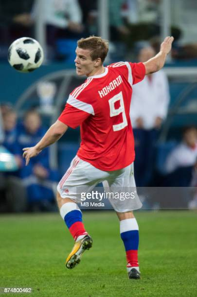SPAIN International friendly football match at Saint Petersburg Stadium The game ended in a 33 draw Russia's Aleksander Kokorin