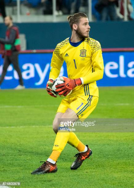 SPAIN International friendly football match at Saint Petersburg Stadium The game ended in a 33 draw Spain's goalkeeper David de Gea