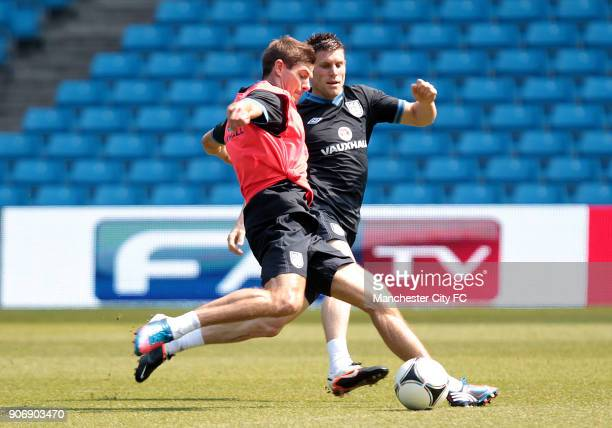 International Friendly Norway v England England Training Session Etihad Stadium England's James Milner and captain Steven Gerrard in action during...