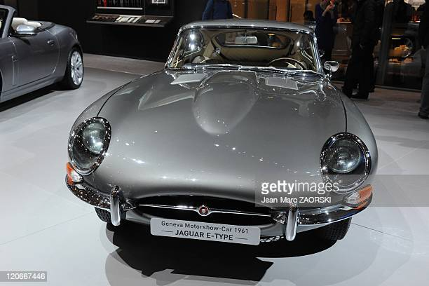 International Geneva Motor Show 2011 in Geneva Switzerland on March 01 2011 A view of the Jaguar etype from 1961 shown at the Geneva Motor Show