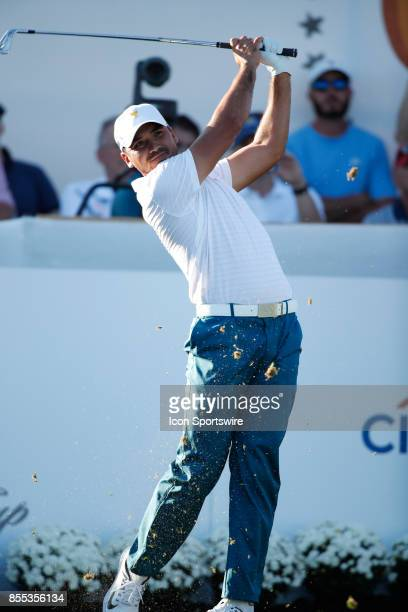 International golfer Jason Day tees on the 16th hole during the first round of the Presidents Cup on September 28 at Liberty National Golf Club in...