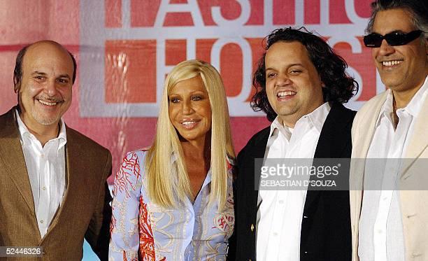 International high fashion icon Donatella Versace CEO FBC Media Alan Friedman and Indian fashion designers Sandeep Khosla and Abu Jani pose at a...
