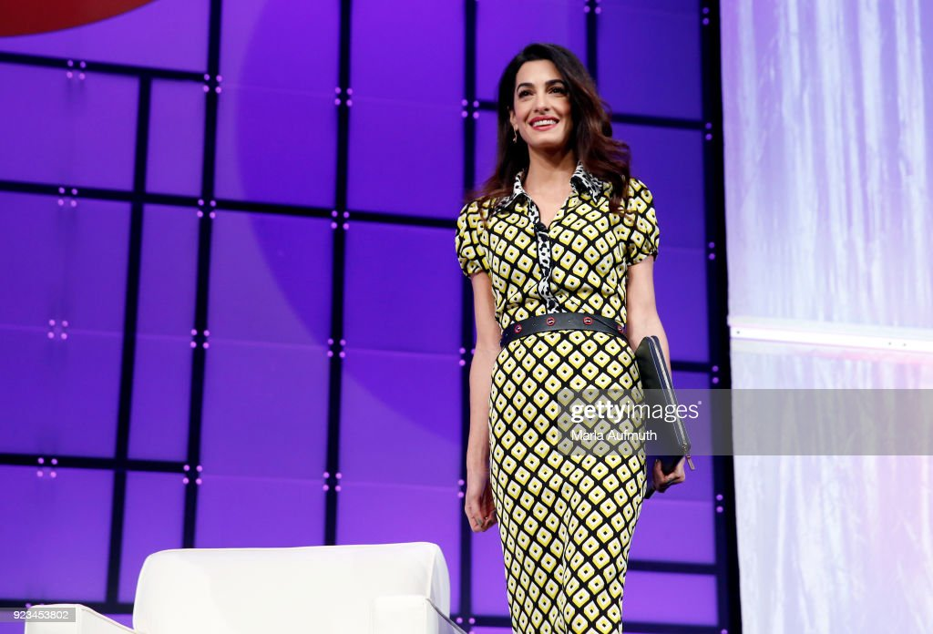International human rights attorney Amal Clooney walks onstage at the Watermark Conference for Women 2018 at San Jose Convention Center on February 23, 2018 in San Jose, California.