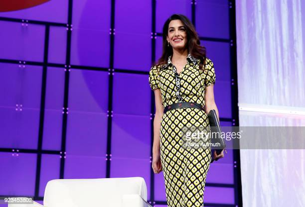 International human rights attorney Amal Clooney walks onstage at the Watermark Conference for Women 2018 at San Jose Convention Center on February...
