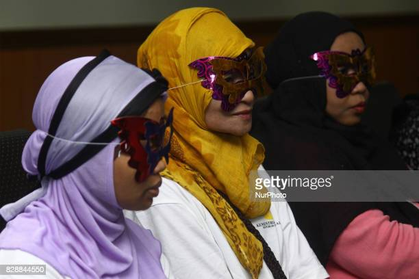 International human trafficking victims who were rescued were also presented at a press conference at the Indonesian National Police Criminal...