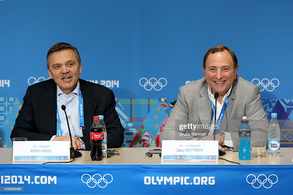 International Ice Hockey Federation President Rene Fasel and National Hockey League Commissioner Gary Bettman speak during a press conference on day eleven of the Sochi 2014 Winter Olympics on February 18, 2014 in Sochi, Russia.