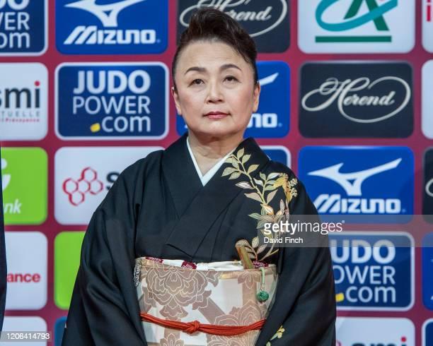 International Judo Federation Ambassador, Princess Tomohito of Japan presented the u48kg medals during the 2020 Paris Judo Grand Slam at the Accor...