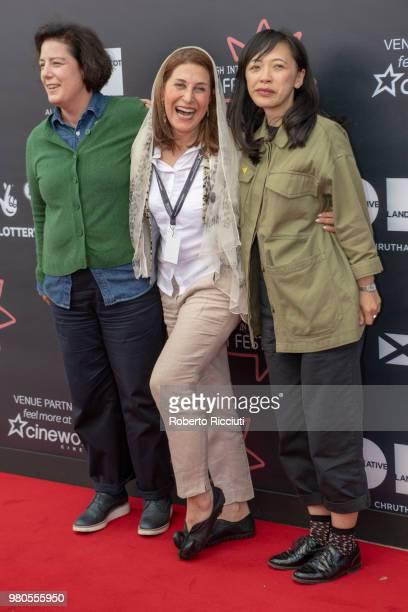 International Jurors Grainne Humphreys Simin MotamedArya and Yung Kha attend a photocall during the 72nd Edinburgh International Film Festival at...