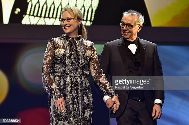 International jury president Meryl Streep and festival president Dieter Kosslick appear on stage during the opening ceremony of the 66th Berlinale...