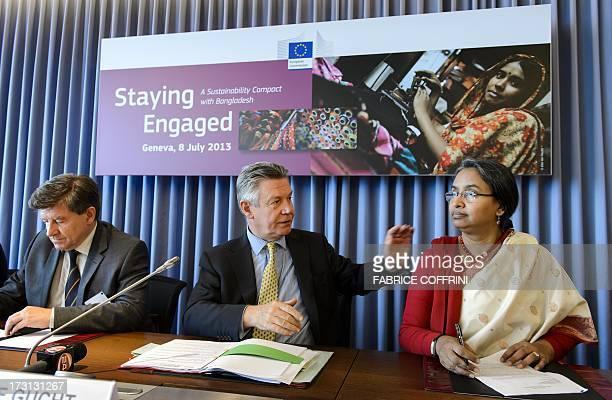 International Labor Organization DirectorGeneral Guy Ryder EU trade commissioner Karel De Gucht and Bangladeshi Foreign Minister Dipu Moni attend on...