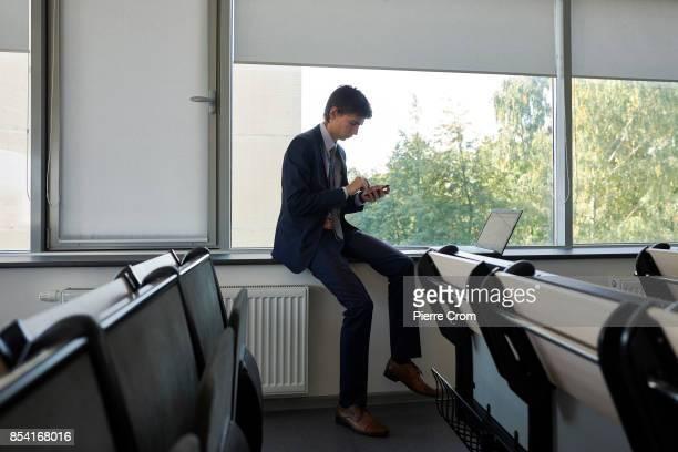 International law student Ilya Tuftin study a land conflict case as 28 international law students from the United Kingdom Belarus Russia Ukraine...