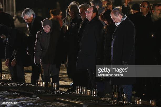 International leaders including Francois Hollande lay candles at the Birkenau Memorial during the commemoration of the 70th anniversary of the...
