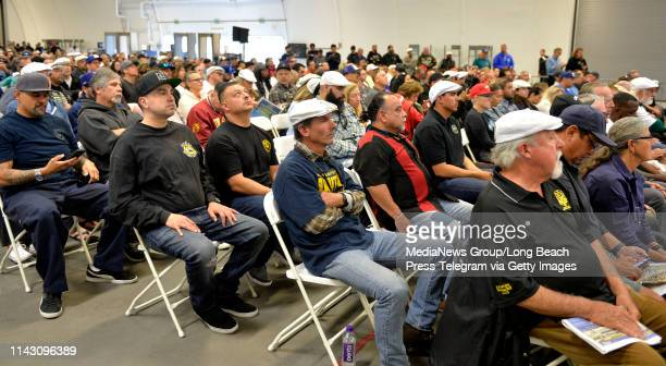 International Longshore and Warehouse Union members present at the LA Harbor Commission Meeting in San Pedro on Tuesday April 16 2019 The union...