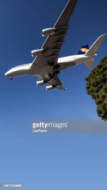 International Lufthansa A380 landing in Los Angeles - LAX airport