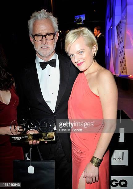 International Man award winner John Slattery and Elisabeth Moss attend the GQ Men Of The Year Awards 2012 at The Royal Opera House on September 4...