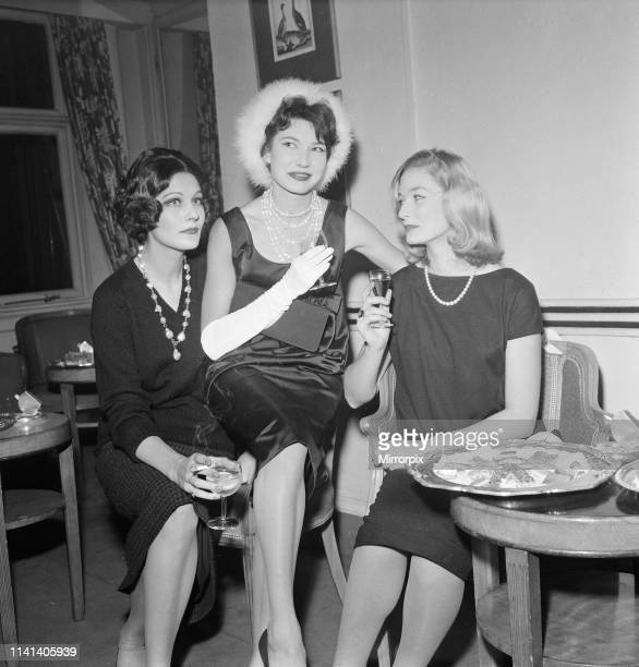 International Models gather at The Savoy Hotel London for the launch of the new edition of annual directory International Model 1959 by Worlds Press...
