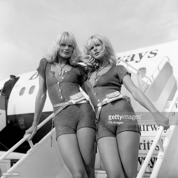 International models Jilly Johnson and Nina Carter at Heathrow Airport the singing duo 'Blonde on Blonde' were on their way to Glasgow to promote...